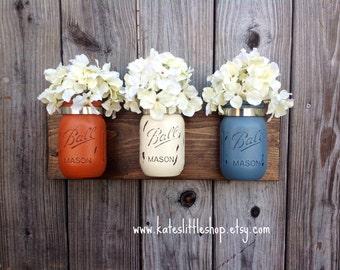 Set of 3 Pint Size Mason Jar Wall Decor. Wall Hanging. Rustic Home Decor. Rustic Housewears. Farmhouse Decor. Mason Jars. Painted Mason Jars