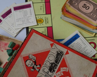 Vintage Monopoly Set, 1950s Wooden Monopoly Game