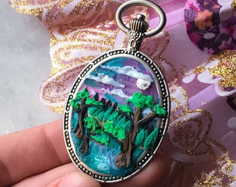 Nature tree and lake pendant