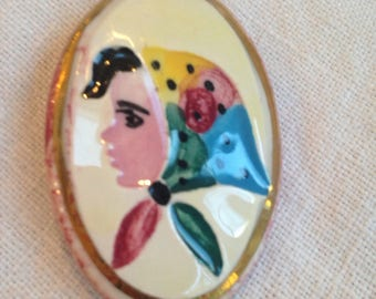 Painted Ceramic Brooch Girl in Scarf