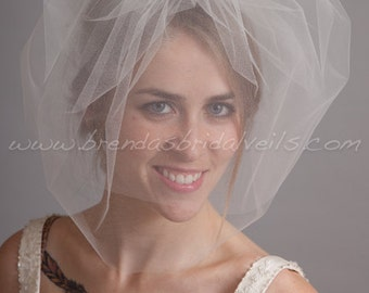 Double Layer Tulle Birdcage Veil, Blusher Bridal Veil, Wedding Veil, White, Diamond White, Ivory, Champagne, Black, More Colors