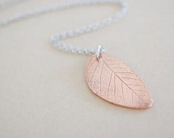 Copper Leaf Necklace - Leaf Pendant - Leaf Imprint - Custom Nature Inspired Necklace