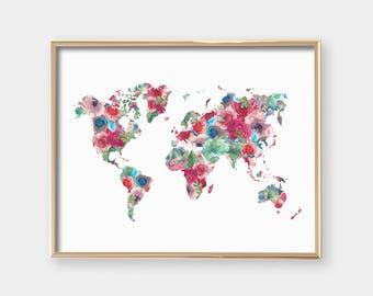 PRINTABLE Floral World Map - Nursery Art Print - Housewarming gift - Graduation gift - Office Art - Teen Decor - Wall Art - SKU:2909