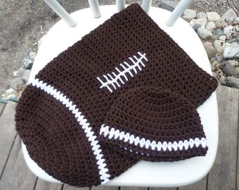 Football Cocoon and Hat; Crochet Football Cocoon and Hat; Crochet Cocoon; Photo Prop; Crochet Hat; Football; Crochet Hat