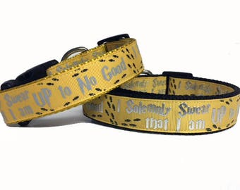 Harry Potter, Hufflepuff, Wizard, Wizardry YELLOW I Solemnly Swear that I am up to No Good Harry Potter Dog Collar