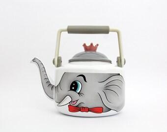 Vintage Kettle // Cute Enameled Elephant Kettle