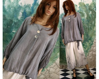 Pictor-Grey Hand Dyed Oversized Blouse Lagenlook Plus Size Tunic OOAK