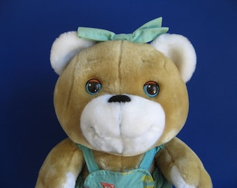 Vintage Teddy Bear with Sleepy Eyes Googles Hasbro Softies Stuffed Animal 1980s Toy 1986 Plush Toy Overhauls Hair Bow Plush