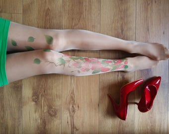 Tattoo Tights with Flowers, S-XXL Sizes Available, Printed Tights, Pantyhose