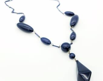 "Vintage Blue Plastic Bead Lariat Statement Necklace - 30"""