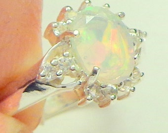 sz 7,Welo Opal Ring,Natural Gemstone,Sterling Silver, Fine Jewelry,Ethiopian Transparent Opals,Faceted Opal