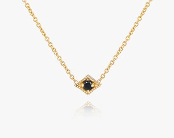 Diamond Solitaire Necklace, Black diamond Necklace, solid gold necklace, gold diamond necklace