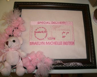 Custom Embroidered Birth Announcement