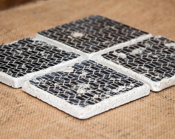 Black & White Pattern - Set of 4 Stone Drink Coasters