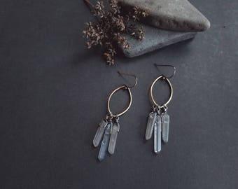Triple Quartz Earrings