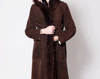 Hooded Suede Coat with Fur Trim