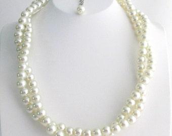 Collier de perles Ivoire torsadé collier de perles Double rang collier demoiselle d'honneur, demoiselle d'honneur, collier de mariée livraison gratuite aux États-Unis