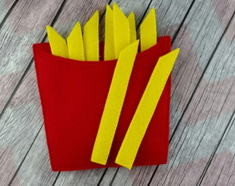 French Fries felt food with container, fast food, play food, pretend play, restaurant
