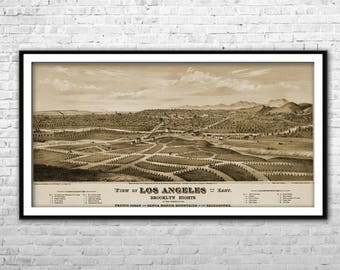 Vintage Los Angeles Map 1877 XLarge Canvas Print City Map Brooklyn Heights LA map Wall Art Home Decoration Multi panel California city map