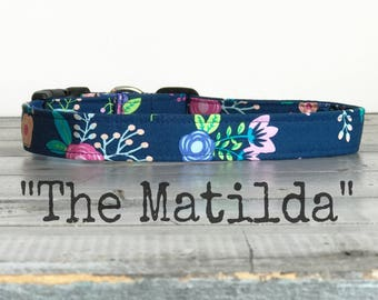 Pretty DOG COLLAR, Made to Order, Dog Collar for Girls, Floral Dog Collar - The MaTiLDa