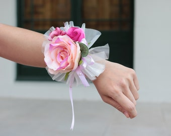2 Pieces Silk Pink Rose Wrist Corsage and Boutonniere Set for Mother of the Bride or Groom, Bridesmaid, Wedding, Formal Occassion