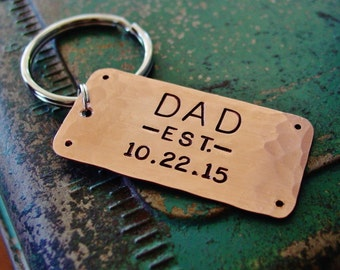 Dad Keychain,Dad Est Keychain,Copper Gift,Hand Stamped,Established Date Year,Personalized,New Dad Gift,Dad Gift,Father's Day,Gift from Child