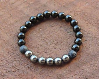 Strength Bracelet, Black Obsidian Bracelet, Healing Meditation Bracelet, Yoga Bracelet, Wrist Mala, Hematite Bracelet, Protection Bracelet