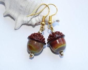 Earrings, ear jewellery, acorns, gold ear, handmade, Lampwork beads, gilded,