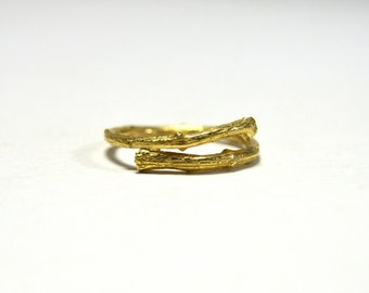 men's ring, gold twig ring, nature inspired jewelry, statement ring, vine band