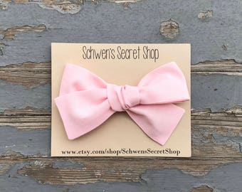 pink baby bow, baby girl bow, pink baby headband, pink bow headband, hand tied bow, baby headband, baby hair bow, pink fabric bow, baby bows