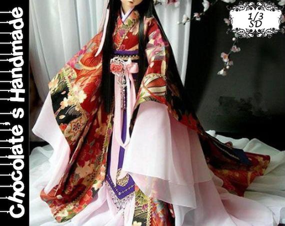 BJD Pattern SD 1/3 Chinese Traditional Japanese Kimono Dress