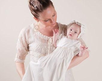 Christening Gowns, Leila Newborn Gown, Ivory Cotton Newborn Layette Gown