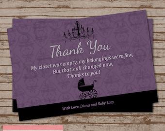 Purple and Black Damask Baby Buggy Baby Shower Thank You Card