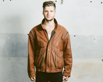 1980s Leather BOMBER Jacket . Vintage 80s Men's Brown Leather Flight Aviator Distressed Autumn Worn In Faded Outerwear Vest . size Large