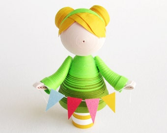 Quilled Paper art doll girl figurine in green with colorful banners, girl room decor, nursery decor, birthday gift for her, cupcake topper