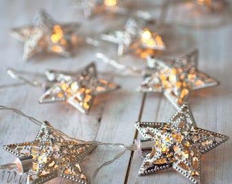 Silver Star Lights, Battery Fairy Lights, Silver Fairy Lights, LED Fairy Lights, Battery Powered Fairy Lights, Eid Lights, Eid Decorations