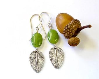 Sterling leaf earrings with green Jade