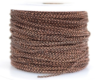 1mm Rolo Chain - Antique Copper - 1.0mm Links - CH130