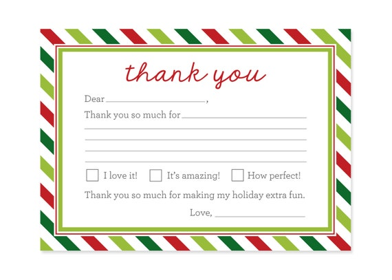 Items Similar To Christmas Thank You Cards Printable Kids Fill In