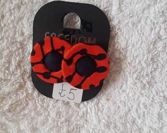Ankara fabric button earings