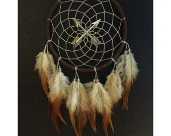Brown dream catcher, faux suede, crossed arrows, silver web, natural feathers 5 inch diameter dreamcatcher hand made unique