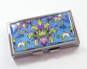 Pilule cas, 7 sections, 7 jours, design vénitien, boîte à pilules, bleu, vert, cas de pilule violet, pour elle, motif vénitien, Kelly aimants (3829)