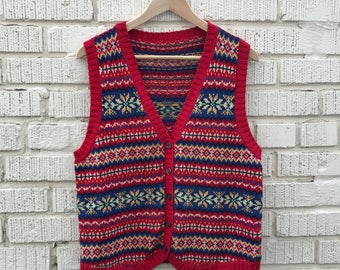 Vintage Sweater Vest. Red Button Up Holiday Sweater. Medium.