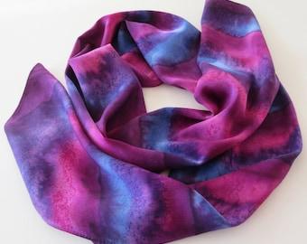 Purple Silk Scarf, Hand Painted Purple Silk Scarf, Silk Scarf, Hand Painted Silk Scarf, Blue Silk Scarf, Purple Scarf, Gift For Her