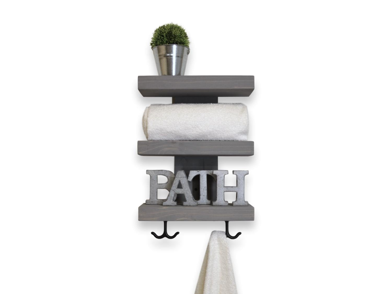 Three Tier Bathroom Shelf with Towel Hooks