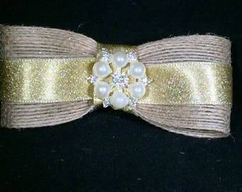 Opposites Attract.........Burlap and Satin Hair Bow with Bling