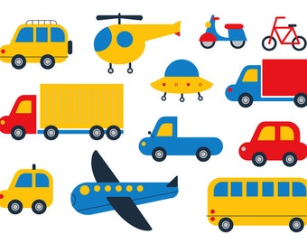 Car Clipart Cute Transport Vector Plane Bicycle Truck Cartoon Ufo Helicopter Kid Digital FileMotorcycle