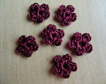 Wool crochet Burgundy color flowers