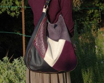 Purple leather handbag,Large handbag,Ladies handbag,Leather totes,Leather shoulder bag,Studded leather,Handmade leather bag,Leather hobo bag