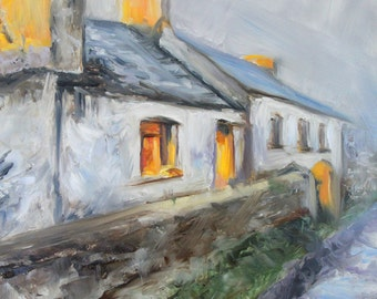 Original Oil Painting: Impressionist Irish Cottage in Winter at Sunset